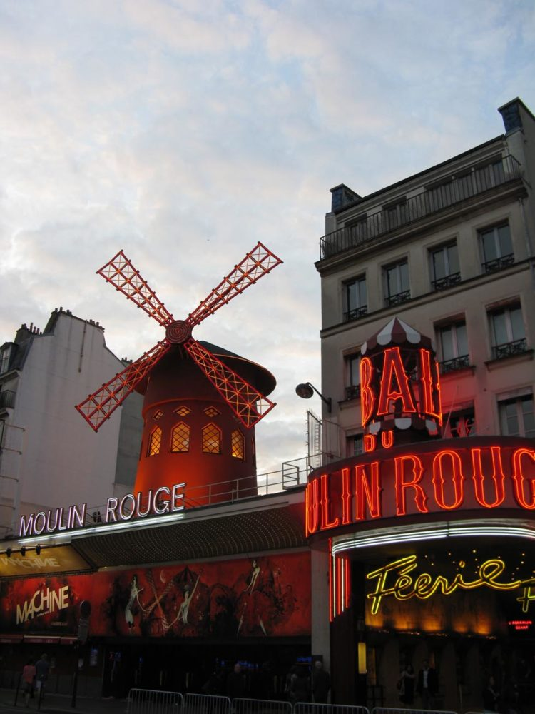 The Moulin Rouge, located in Pigalle, Paris' version of the red light district.