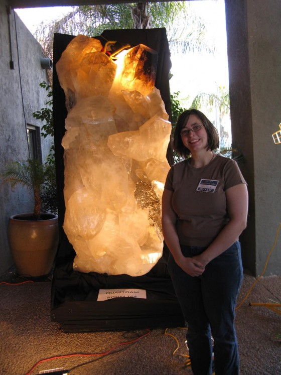 Me in front of a giant, 8 foot tall quartz crystal
