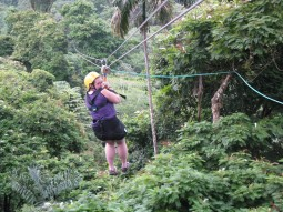 Shanna on the zipline in Costa Rica
