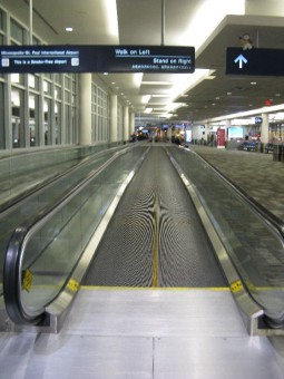 A moving walkway at the Minneapolis St. Paul International Airport (MSP)
