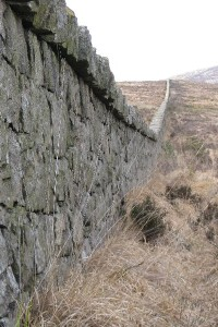 The Mourne Wall at the Silent Valley Reservoir, created to enclose the reservoir catchement area
