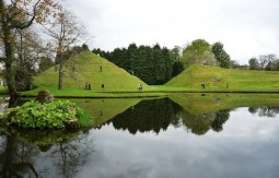Undulating landmasses in the unusual Garden of Cosmic Speculation in Dumfries, Scotland.