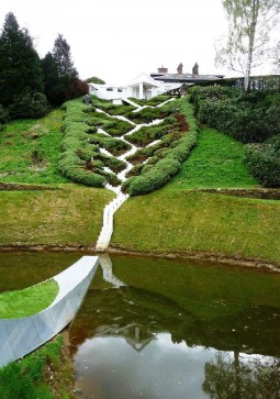 Paths based on the principles of physics and science in the unusual Garden of Cosmic Speculation in Dumfries, Scotland.
