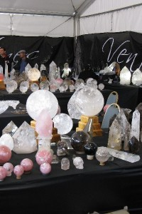 Tables full of crystals at the Tucson Gem Show