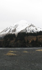 Snowy mountain on Kodiak Island, AK