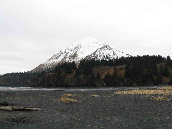 Snowy mountain on Kodiak Island, AK