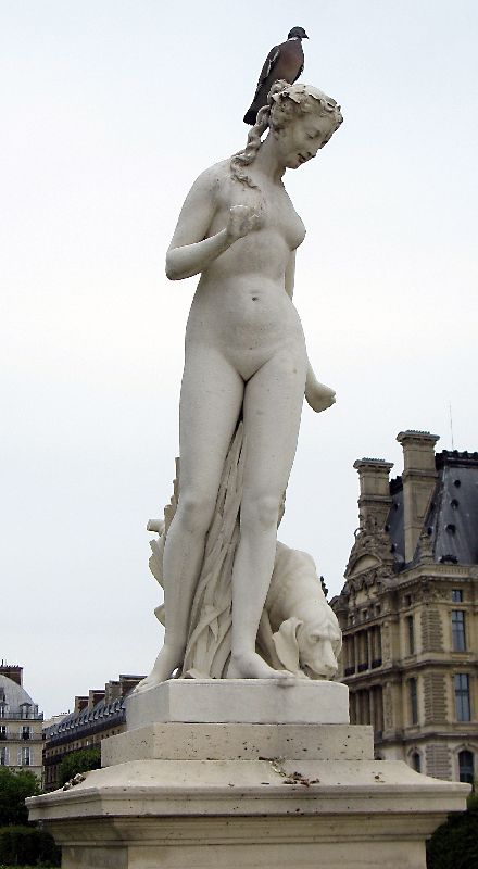 A statue in Jardin Tullieres in Paris France