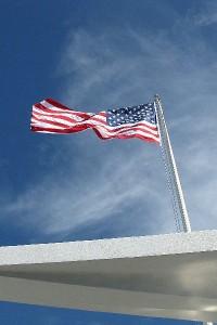 A flag at the memorial at Pearl harbor