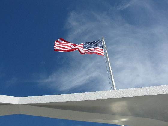 A flag at the memorial at Pearl harbor