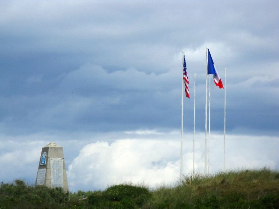 French and American flag flying on Utah beach, Normandy France