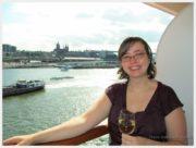 Shanna on the balcony on the Eurodam saying goodbye to Amsterdam
