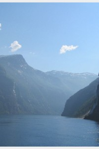 Views of the fjord from the cruise ship as we left Geiranger, Norway