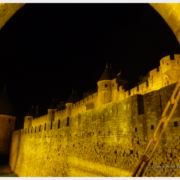 Carcassonne Castle at night from the main gate