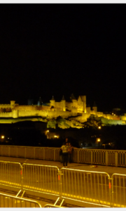 Carcassonne Castle at night after Bastille Day fireworks