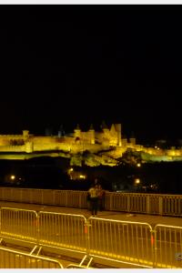 Carcassonne Castle at night after Bastille Day fireworks