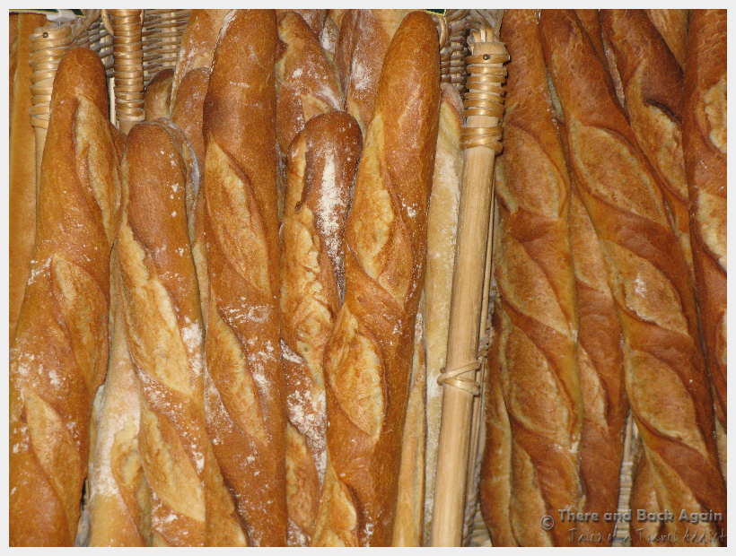 Baguettes french pastries in a boulangerie in France