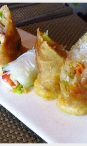 Spring roll assortment, appetizer, dinner at Tamarind on our Holland America cruise