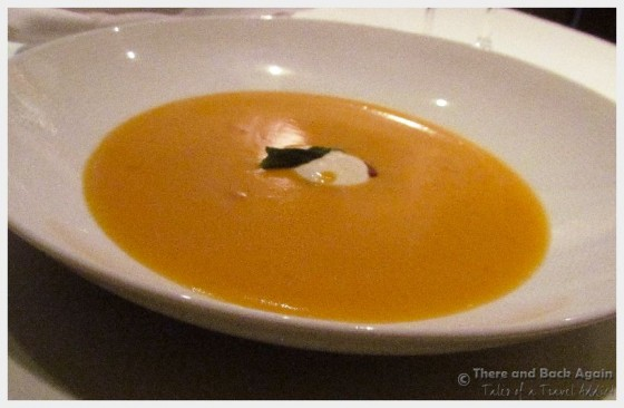 "Butternut squash soup Dinner on the MS Eurodam at ""An Evening at Le Cirque"""