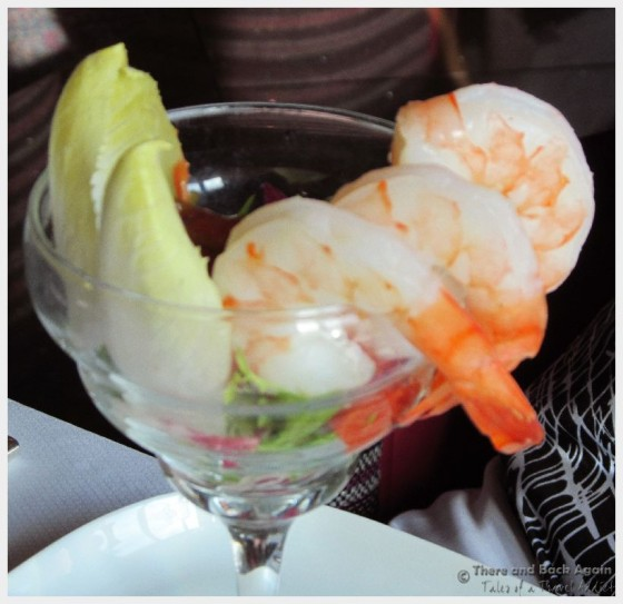 Huge shrimp cocktail for dinner at the Holland America Pinnacle Grill