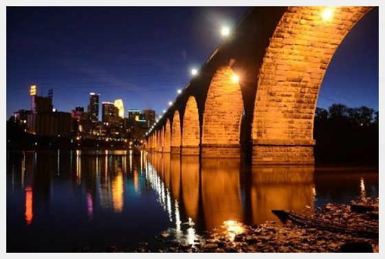 Stone Arch Bridge at Night Minneapolis