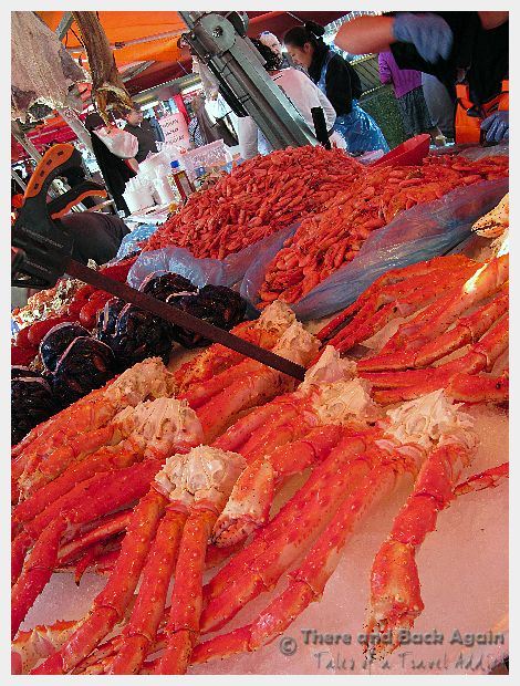 Images from the market in Bergen, Norway. Huge crab legs.