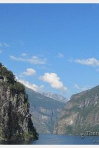 View of the fjords near Geiranger from the deck of the cruise ship