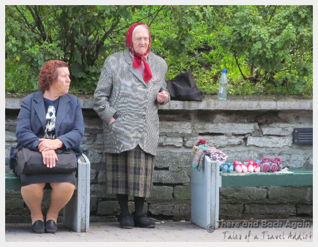 Old women selling handmade knitted goods, Talinn, Estonia - what to do in tallinn for a day
