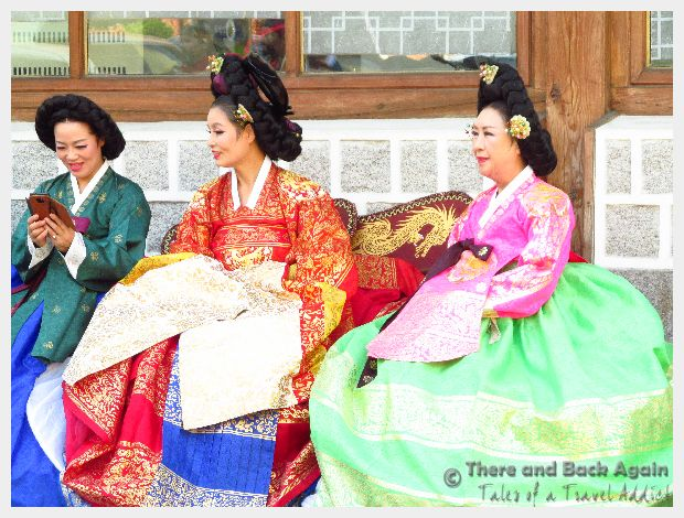 Women in traditional costumes in Korea