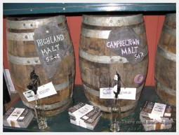 Casks of Whisky in Cadenheads Whisky shop in Edinborough Scotland