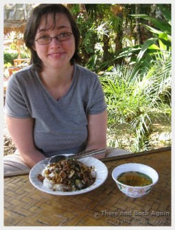 Shanna about to enjoy her Thai lunch.