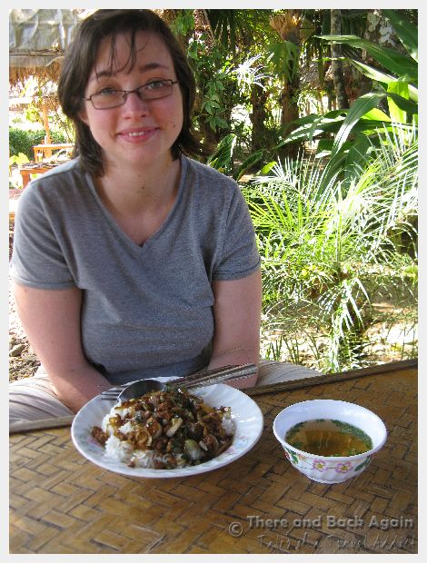 Shanna about to enjoy her Thai lunch at an off the beaten path
